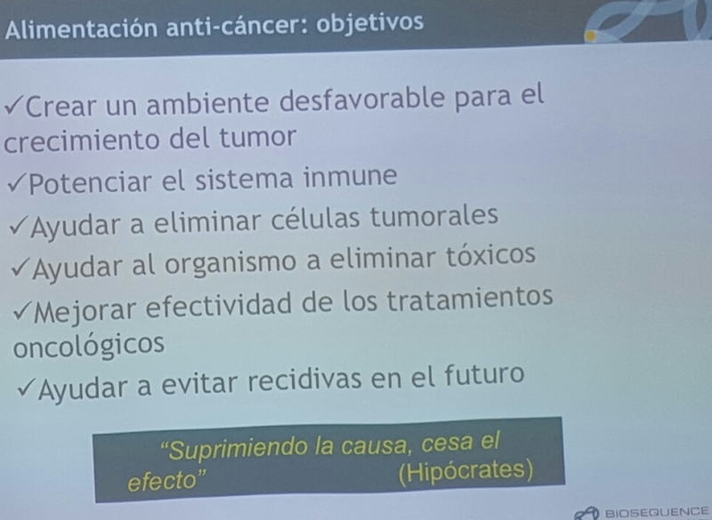 ALIMENTACIÓN ANTI-CANCER OBJETIVOS